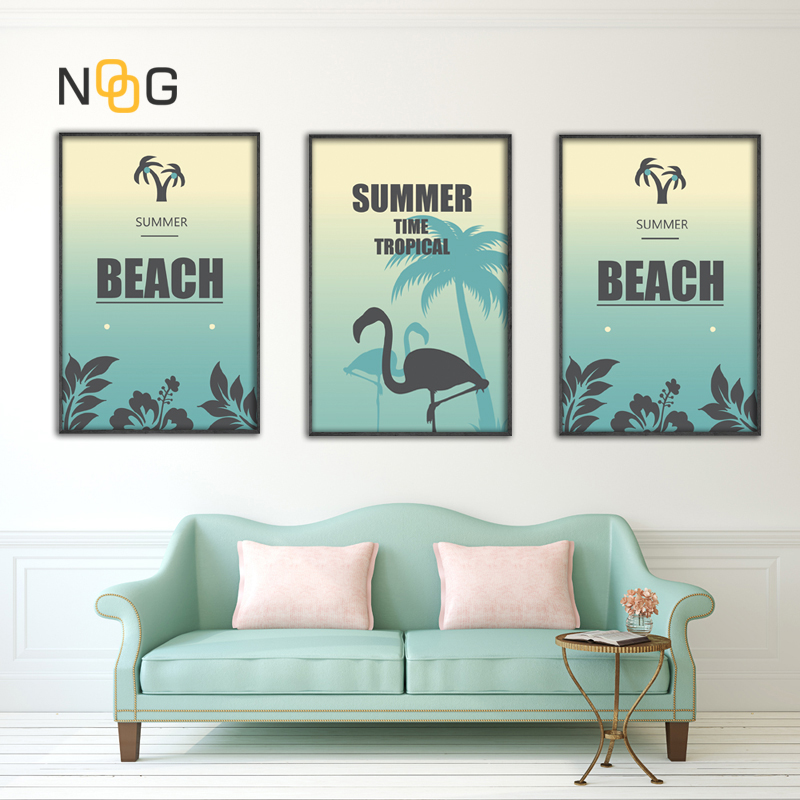 IOIOI Beach Flamingo Wall Art Poster Pictures Simple Posters And Prints Canvas Painting For Nordic Room Decor