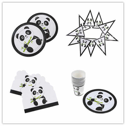 Plates/Cups/Napkins/Banner/Invitation Card/Table Cover Chinese Panda Party Decoration Kit Kid Shower Christmas Party Decor