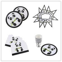 Plates/Cups/Napkins/Banner/Invitation Card/Table Cover Chinese Panda Party Decoration Kit Kid Shower Christmas Party Decor(China)