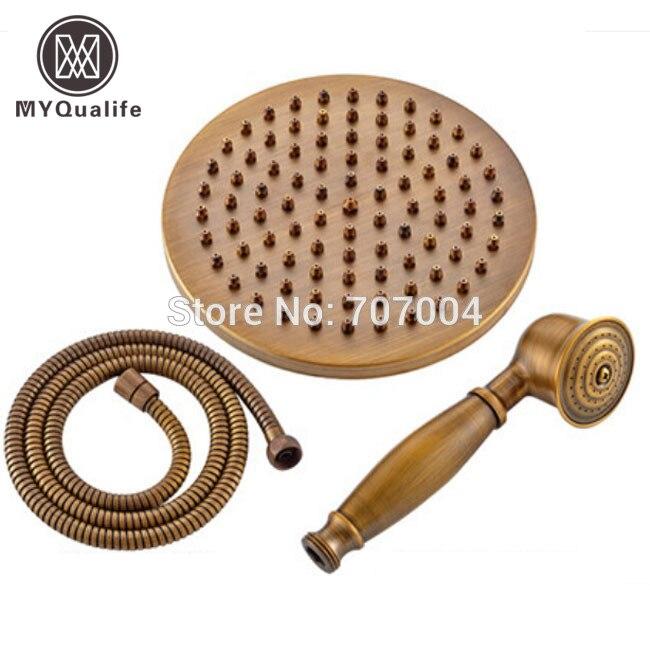 Pomme de douche en laiton Antique de forme ronde de 8 + douchette + tuyau de 59Pomme de douche en laiton Antique de forme ronde de 8 + douchette + tuyau de 59