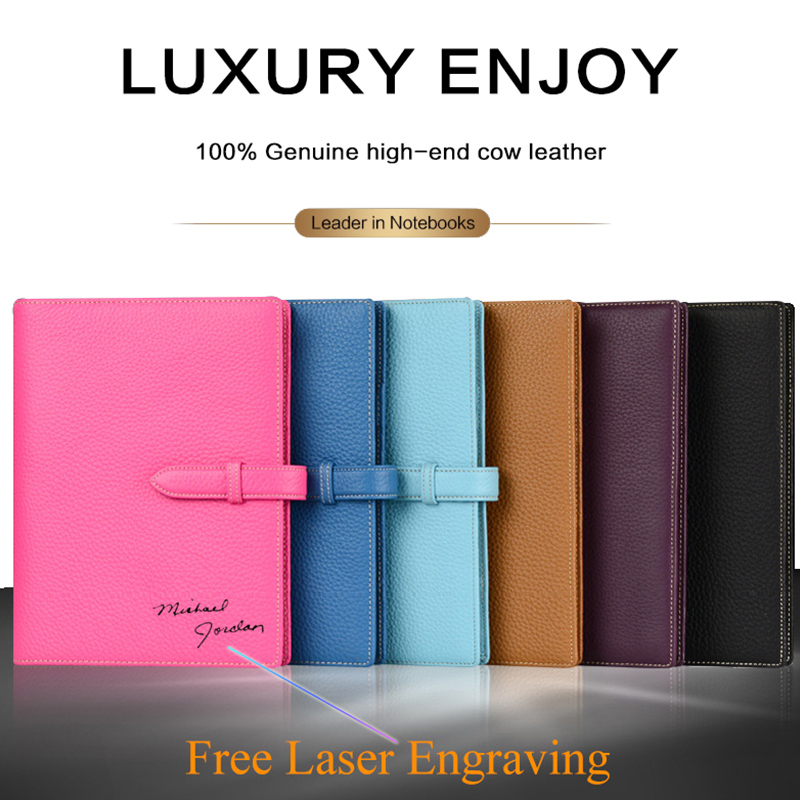 Lichee Notebook Logo DIY Custom Genuine Leather A5 Writing Pads Loose leaf Leader Rings Binder Pouch for Business Planner Diary free logo custom leather a5 notebook mini writing pads binder loose leaf diary office school mini a6 pu notepad with rings