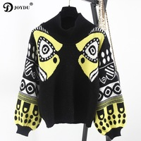 JOYDU Runway Oversized 2018 Fall Winter Wool Turtleneck Sweater Women Fish HARAJUKU Lantern Sleeve Pullovers Knitted Tops Jumper