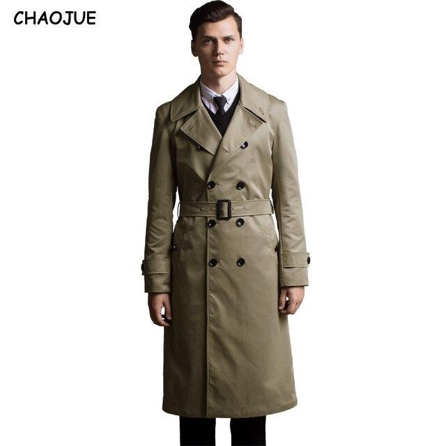 CHAOJUE abrigo largo Extra gabardina para hombre 2018 Slim Inglaterra gabardina para hombre talla grande 6XL como regalo