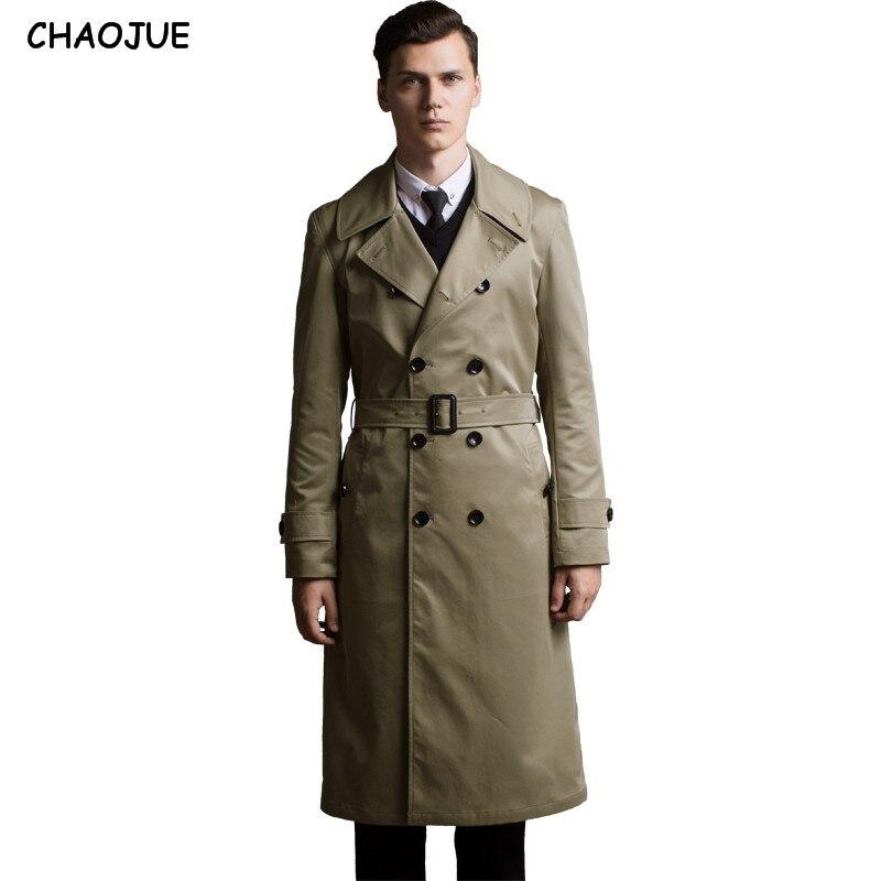 CHAOJUE Extra Long Manteau Trench Hommes 2018 Slim Angleterre Tranchée Manteaux Homme Grande Taille 6XL De Pois Manteau Gentleman Top Vestes comme Cadeau