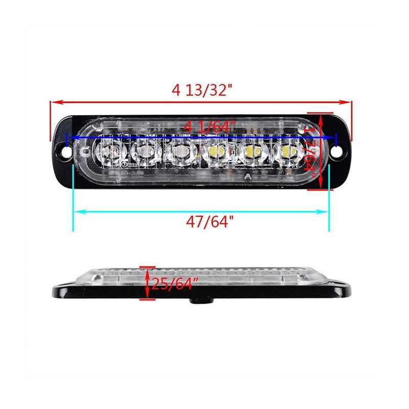 8Pcs Amber 6LED Car Truck Emergency Beacon Warning Flash Strobe Light Bar Lamp super light new good quality