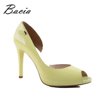 Spring Summer Ladies Genuine Leather High Heels Pumps Open Toe Green Fashion Slip On Shoes Women