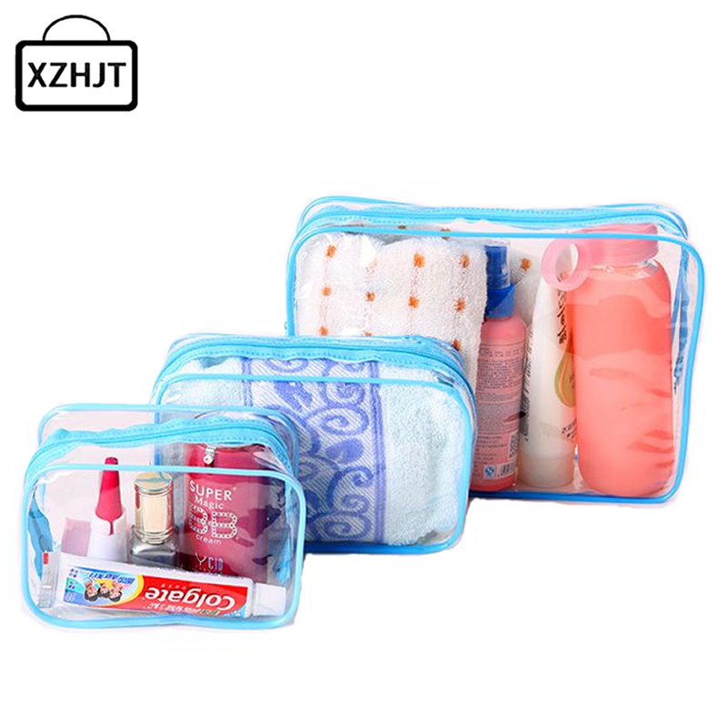3pcs Transparent Cosmetic Bags PVC Makeup Bags Women Travel Organizer Necessary Beauty Case Toiletry Bag Bath Wash Make Up Box msq make up bag pink and portable cosmetic bags for professional makeup artist toiletry case new arrival