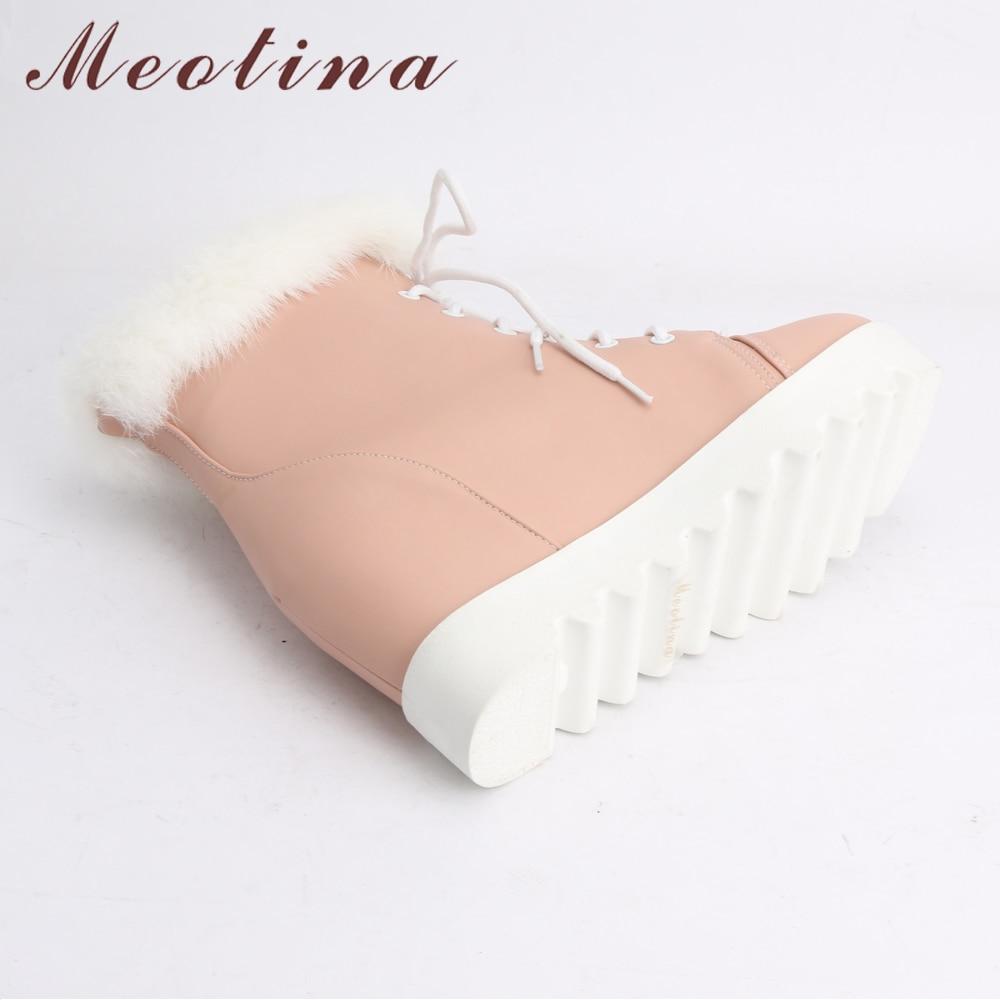 Femmes Peluche D'hiver Cheville Up forme Réel Plate rose Fourrure Lapin Blanc Bottes En Compensé Haute Talon Dentelle Apricot De blanc Neige Meotina Court 0wqdY0C