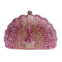 Pfau form abend-handtasche elegante damen party kupplung taschen voller kristall Luxus abendtaschen hochzeit braut tasche SC086