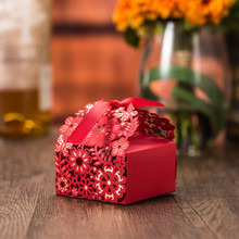 50 Pcs Packaging Wedding Favor Boxes Paper Packing Bags Chinese Candy Box Gift Dragees Package Cardboard Laser Cut