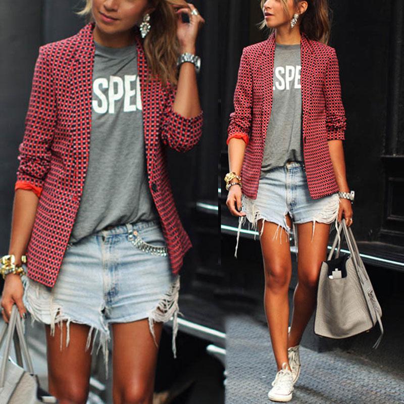 Fashion Women Plaid OL Coat Lapel Outwears Pockets Casual Single Button Overcoat Tops H9