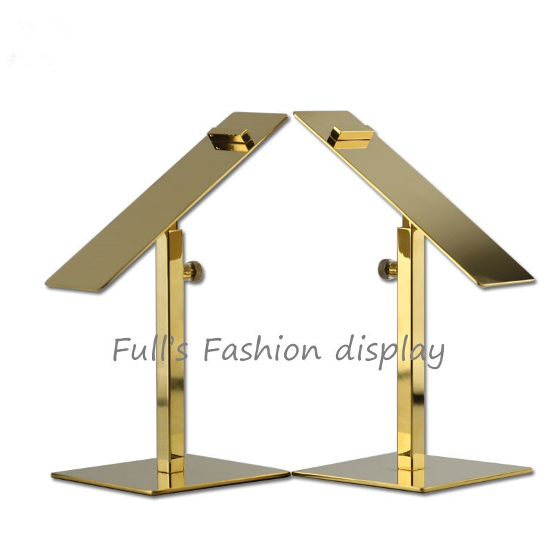 Gold Mirror surface Stainless Steel Adjustable handbag display stand holder racks