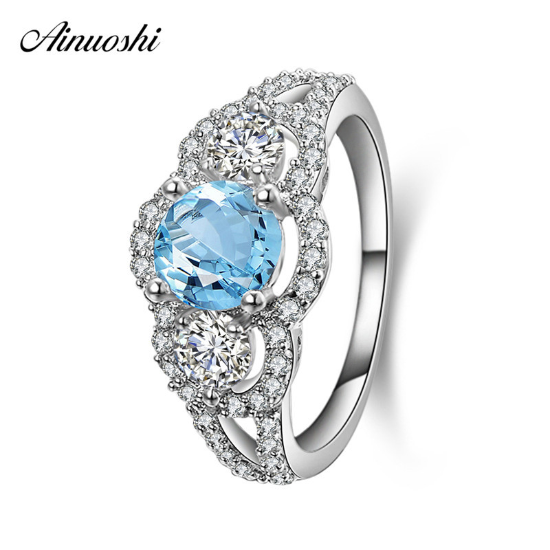 AINUOSHI 3 stone Ring 1ct Round Cut Natural Blue Topaz Ring Pure 925 Silver Gemstone Ring Women Wedding Engagement Party Jewelry academic listening encounters life in society listening note taking discussion teacher s manual
