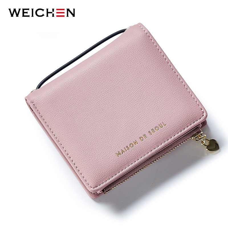 WEICHEN New Design Square Handle Short Clutch Wallets For Women,Heart Pendant Coin Purses Card Holders Lady PU Leather Money Bag