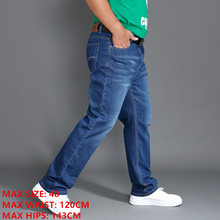 Klasik kot erkekler bahar uzun pantolon artı boyutu 44 46 48 yüksek bel elastik hafif yaz Denim pantolon akıllı rahat Jean