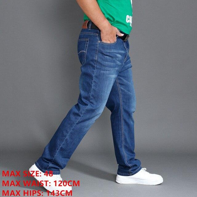Klasyczne jeansy męskie wiosna długie spodnie Plus rozmiar 44 46 48 wysoka talia elastyczne lekkie letnie spodnie jeansowe Smart Casual Jean