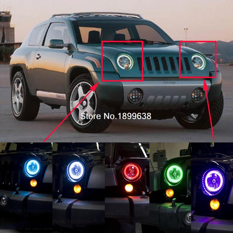 2pcs Super bright 7 color RGB LED Angel Eyes Kit with a remote control car styling