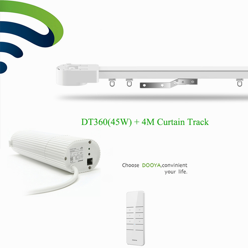Ewelink Intelligient Dooya DT360e Wifi Motor+4M Aluminum Curtain Rail Track Phone Remote Control Electric Curtain System