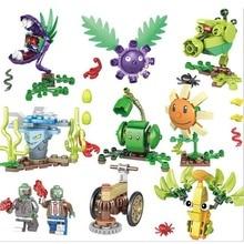 8Pcs Compatible Legoing Plants vs Zombies Figures Block Set sunflower Repeater Chomper Building Toy For Girls