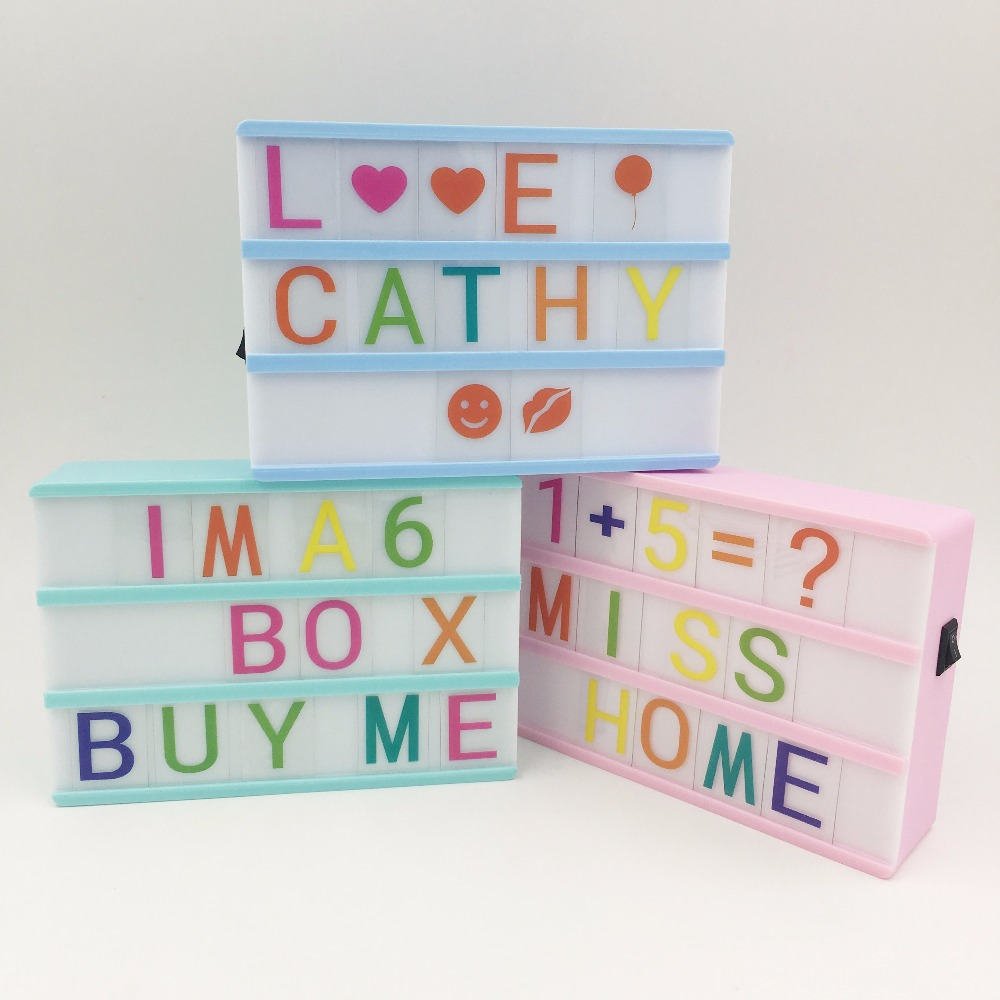 Colorful Body A6 Cinema Lightbox Home DIY Message Board Night Lamp Box +One set Carton Glyph Letters For A6 Lightbox
