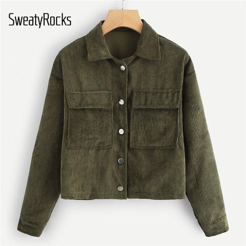SweatyRocks Solid Casual Dual Pocket Corduroy Coats 2018 Single Breasted Turn-Down-Collar
