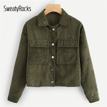 SweatyRocks Solid Casual Dual Pocket Corduroy Coats 2018 Single Breasted Turn-Down-Collar Outerwear Autumn Women Jacket And Tops