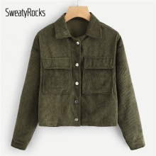 SweatyRocks Solid Casual Dual Pocket Corduroy Coats 2018 Single Breasted Turn-Down-Collar O