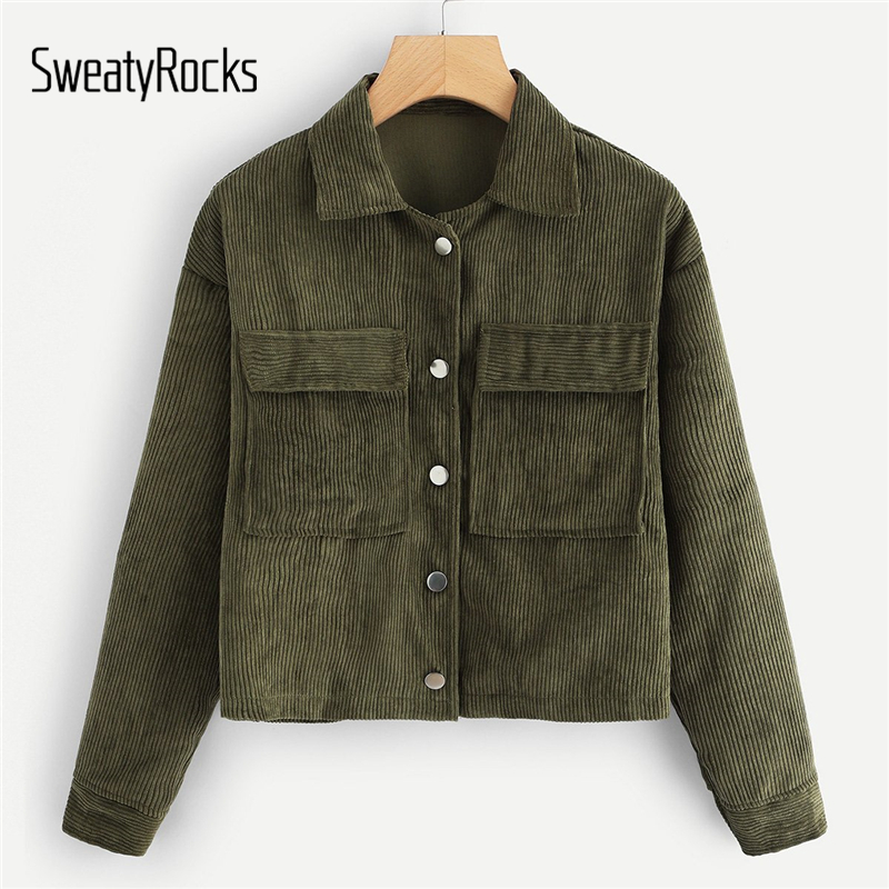 SweatyRocks Solid Casual Dual Pocket Corduroy   Coats   2018 Single Breasted Turn-  Down  -Collar Outerwear Autumn Women Jacket And Tops