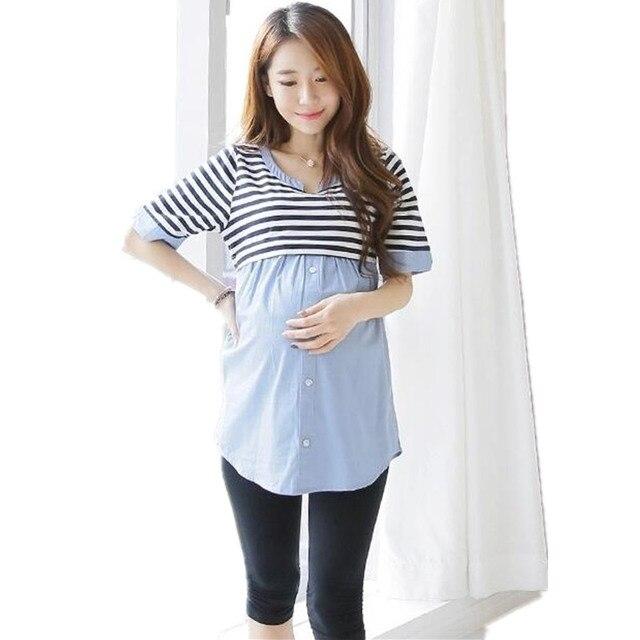 fa861bb4a Verano de Maternidad Lactancia Materna Enfermería Top Blusa Camisas Blusas  Camisa de Rayas Ropa Para Las