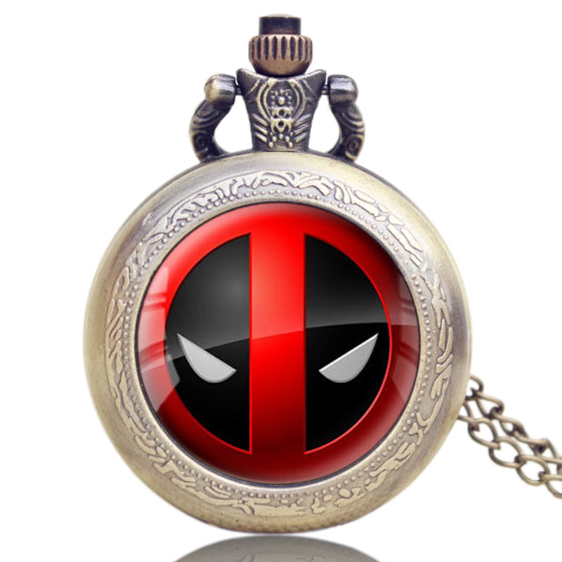 Antique Style Fashion Cool DEADPOOL Cosplay Necklace Pocket Watch Pendant Chain Retro Quartz Steampunk Men Women