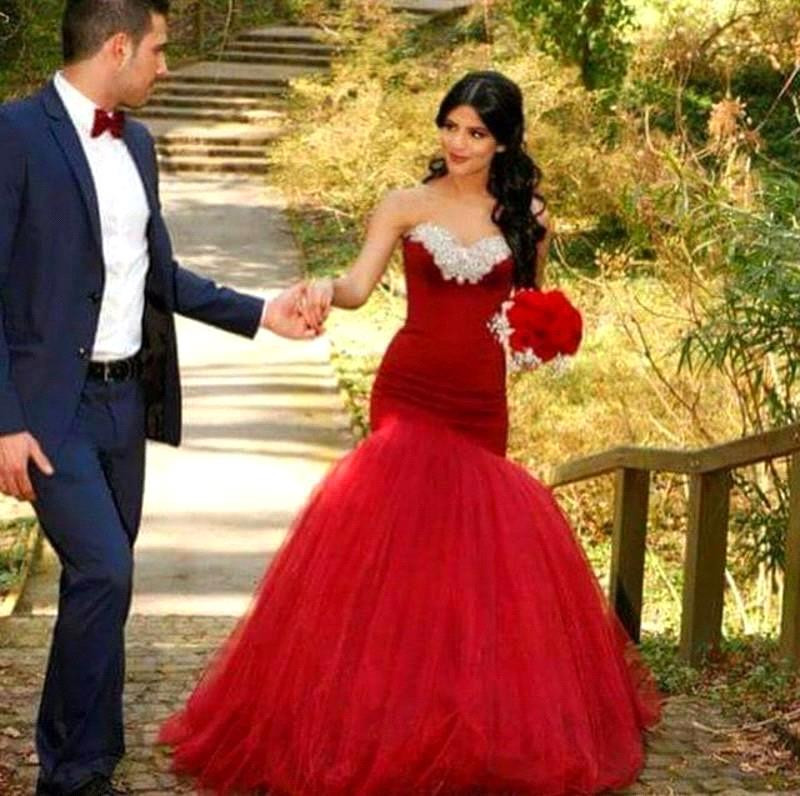 free shipping Vestido De Noiva Luxury Crystals Beaded Mermaid Romantic Red Tulle Bridal gown Robe de Mariage   bridesmaid     dress
