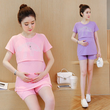 2016 Cotton Pregnant Women Pajamas Set Home Maternity Sleepwear Nursing Breastfeeding Clothing Mother Clothes Plus Size B59