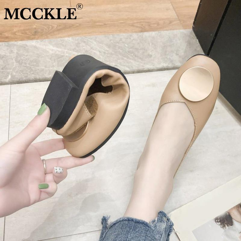 MCCKLE Women Flat Shoes Shallow Slip On Ladies Loafers Casual Comfortable Soft Fashion Female Moccasins 2019 Autumn New Footwear