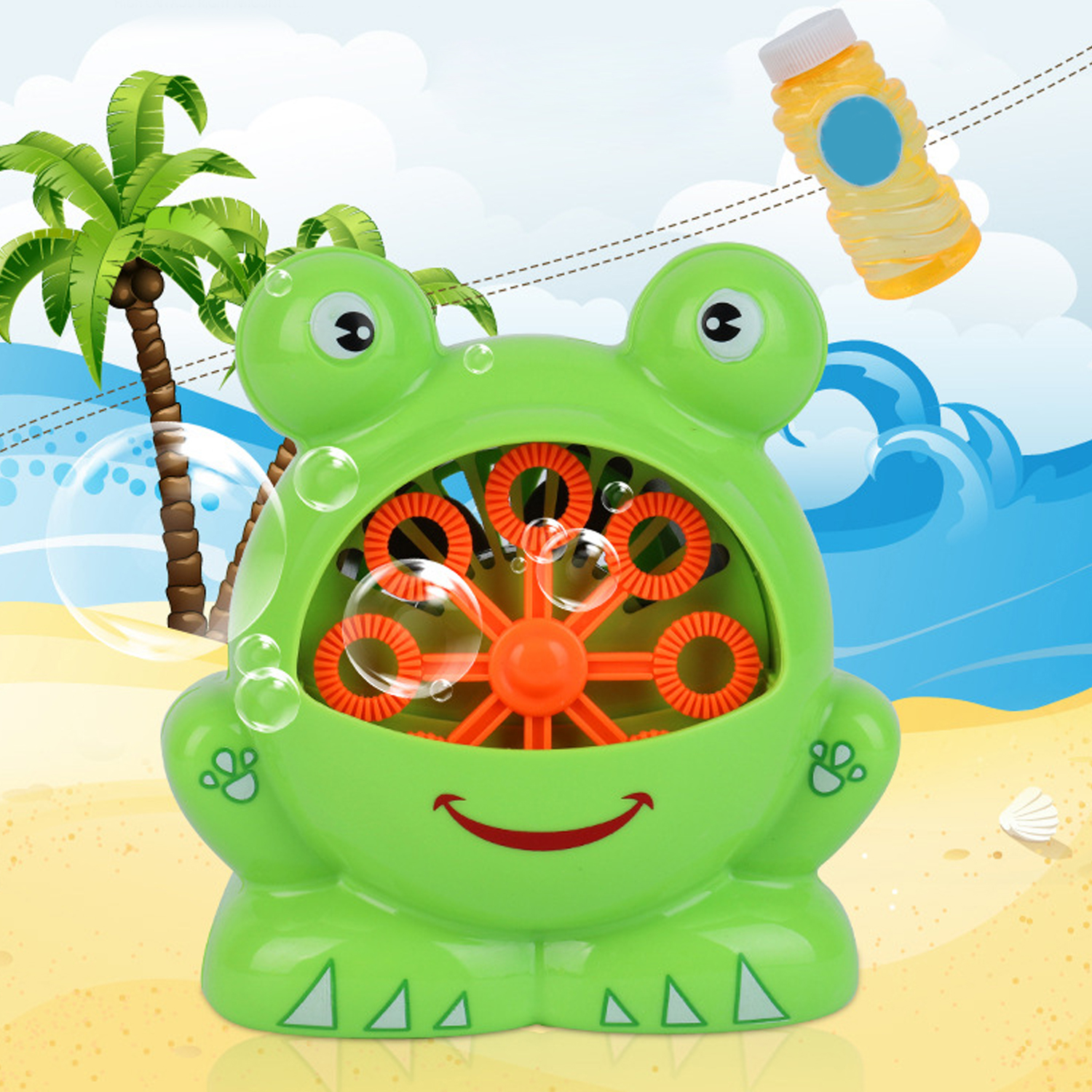 Kids Cute Funny Cartoon Electric Frog Bubble Machine Automatic Frog Bubble Maker Soap Bubble Blower Outdoor Sports Bubble Toy