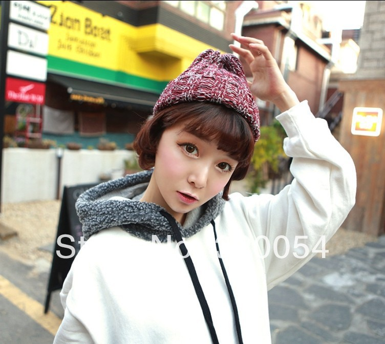 Knitting hat fashion the Korean version Black Red Women in the winter stripe mixed color pointed cap the new children s cubs hat qiu dong with cartoon animals knitting wool cap and pile