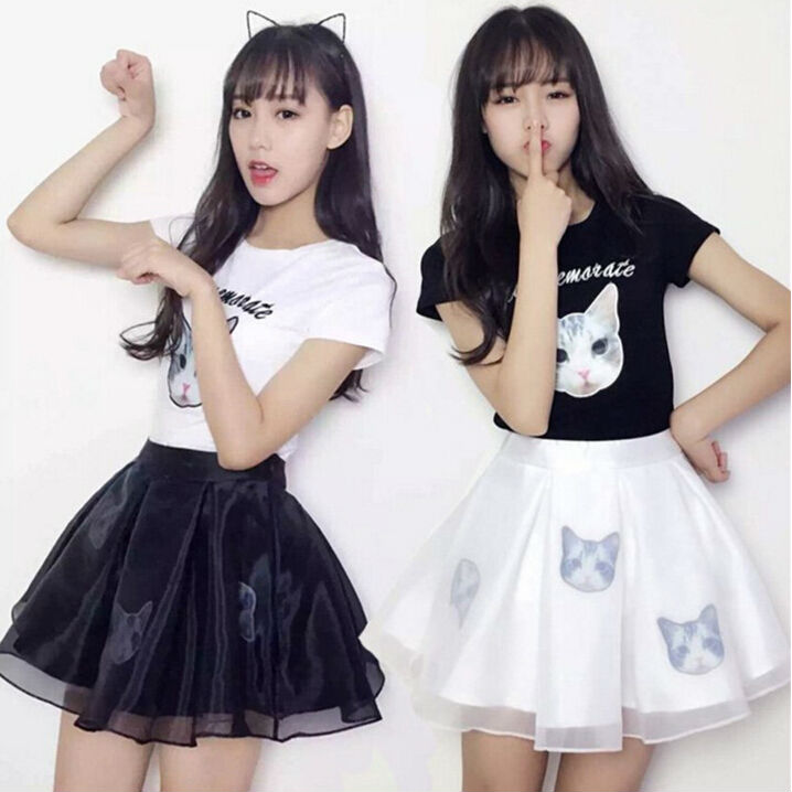 Harajuku Ladies Style Kawaii Little Cat Embroidery Soft Sister Two Piece Set Spring Summer Black And White All Match Set Women