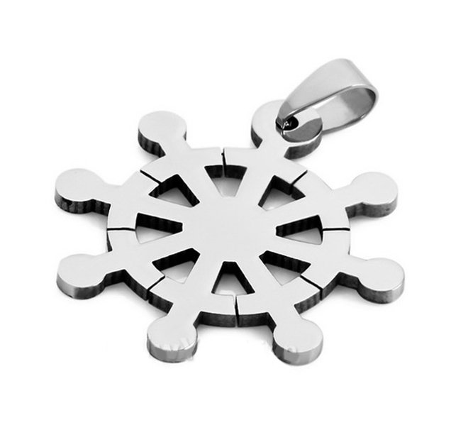 Rueda de dharma de acero colgante de plata del acero inoxidable rueda de dharma de acero colgante de plata del acero inoxidable volante noble ctuple sendero dharmachakra aloadofball Gallery