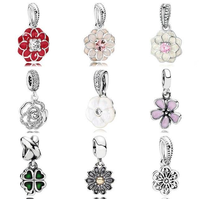 c882b0552 Dazzling Enamel Cherry Blossom Dahlia Gerbera Flowe Clover Pendant Charm  Fit Pandora Bracelet 925 Sterling Silver Bead Jewelry
