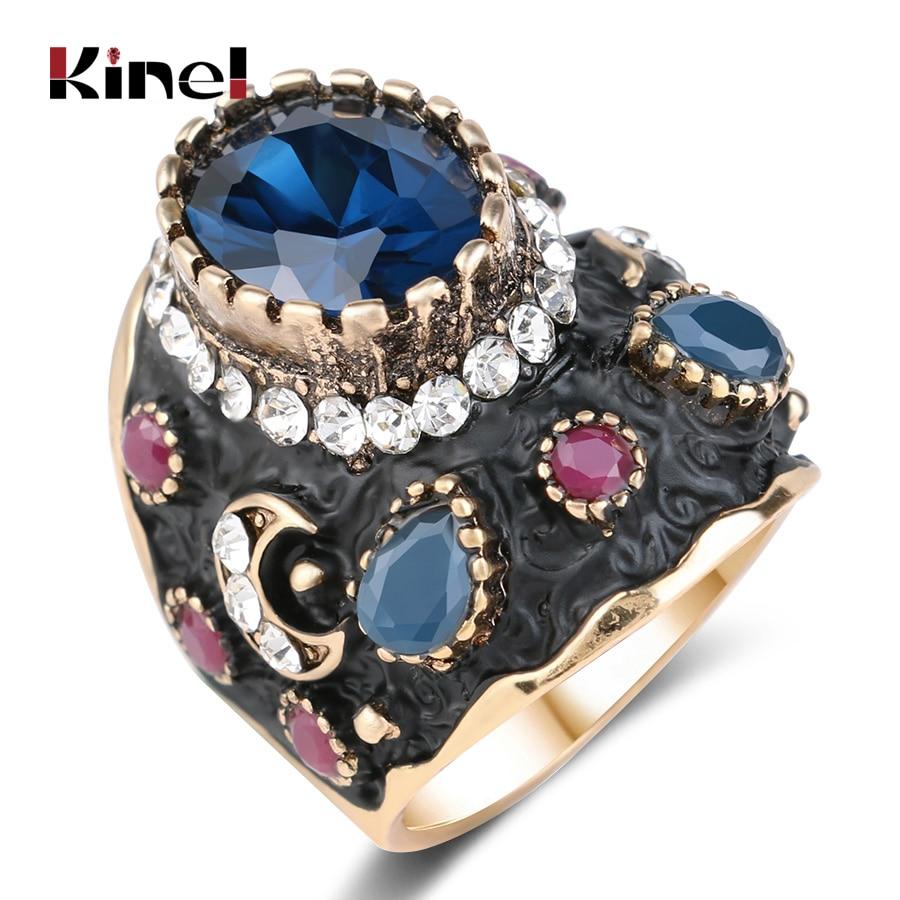 Unique Big Black Enamel Ring Blue Crystal Gold Color Ethnic Antique Rings For Women Retro Bridal Vintage Fine Jewelry