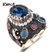 Einzigartige Große Schwarze Emaille Ring Blau Kristall Gold Farbe Ethnische Antike Ringe Für Frauen Retro Braut Vintage Edlen Schmuck