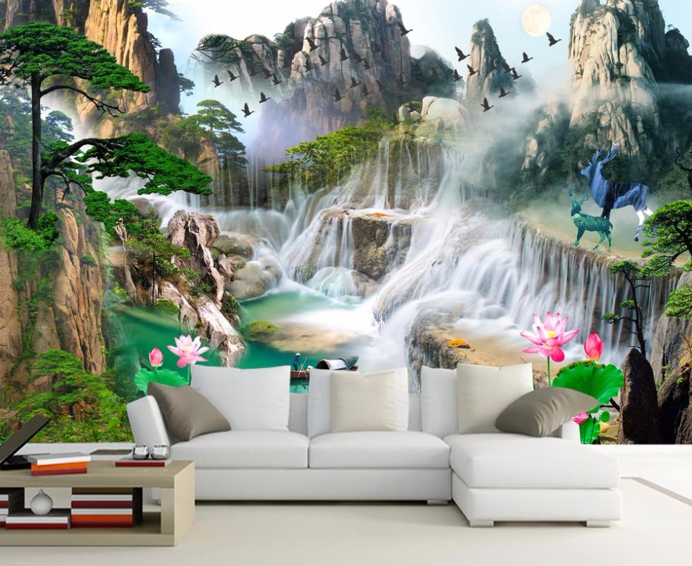 3d Wall Murals 3D Wallpaper For Living room Bedroom TV Sofa Background Wall Waterfall Forest Landscape Wall papers Home Decor spring abundant flowers rich large mural wallpaper living room bedroom wallpaper painting tv background wall 3d wallpaper