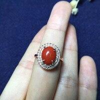8*10mm ragazze regalo regalo di compleanno mamma reale argento sterling 925 natural corallo rosso anello fine jewelry