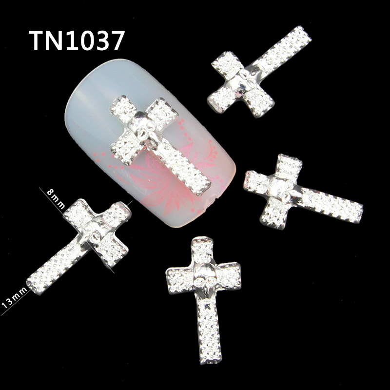 4 Count NEW! Rhinestone and silver metal Cross Charm