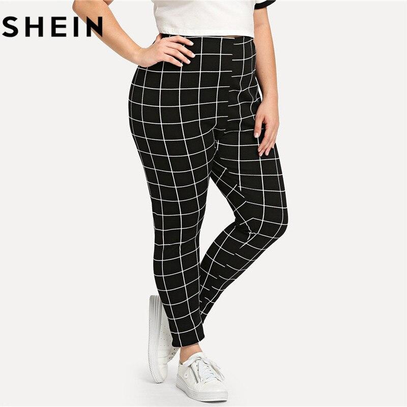SHEIN Black And White Plaid Plus Size Mid Waist Women Leggings Autumn Winter Grid Print Long Casual Legging 2