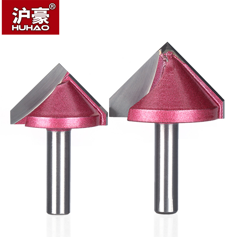 Купить с кэшбэком HUHAO 8mm shank V Bit CNC solid carbide end mill 3D Router Bits for Wood 60 90 120 150 deg tungsten woodworking milling cutter