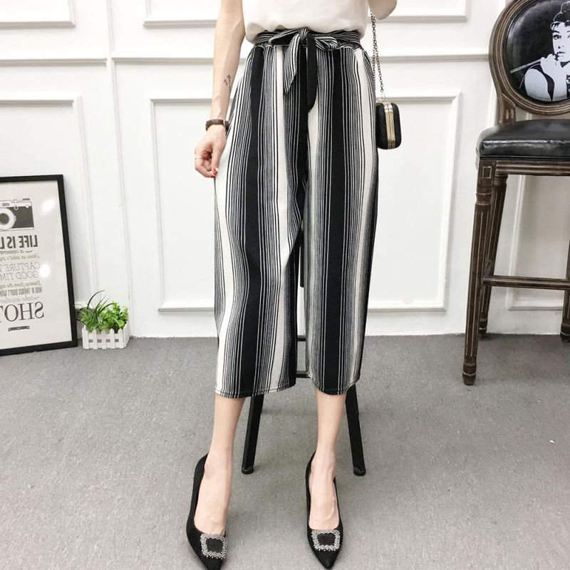 ETOSELL Women New Summer Wide Leg Pants Casual Loose High Elastic Waist Harem Pants Loose Belt Striped Elasticated Trousers 18