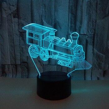 기관차 3d 램프 멀티 컬러 3d led 비주얼 테이블 램프 터치 제어 원격 제어 선물 3d 작은 테이블 램프