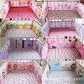 100% bebé ropa de cama de algodón 3D animal flor bordado patrones Interesantes 4 Unidades cama alrededor de Parachoques de protección de Seguridad