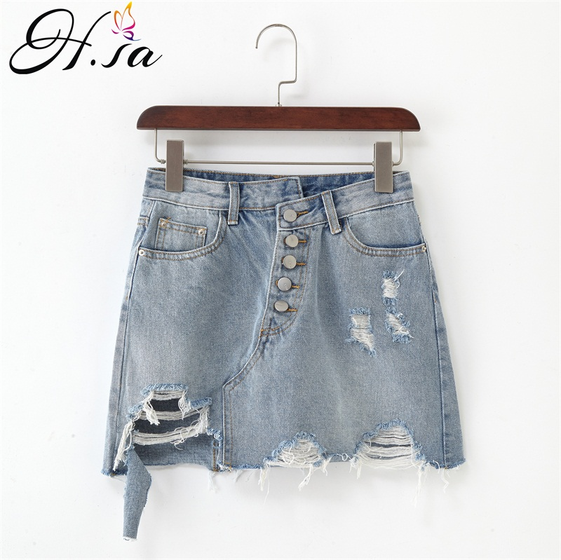 H.sa Plus Size Fashion Midi Denim Skirt Women 2019 Summer Light Blue Hole Ripped Jeans Skirt Female Button Tassel School Skirt