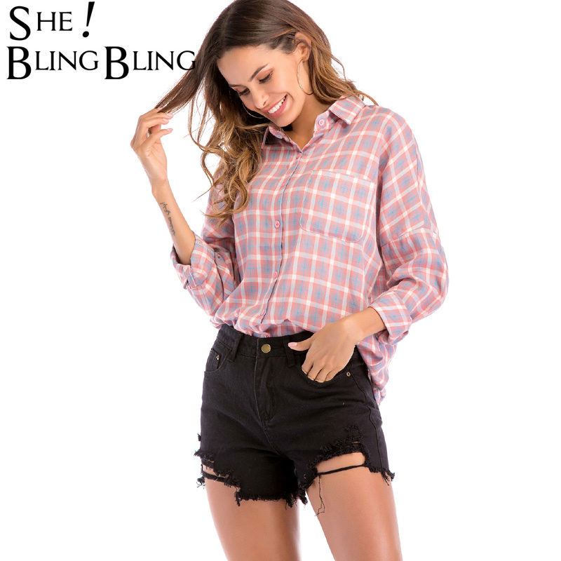 SheBlingBling Plaid Shirts Women Fashion Turn Down Collar Long Sleeve Buttons Casual Loose Single Breasted Women Blouse